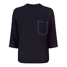Buy Jaeger Top Stitch Pocket Detail Top, Navy Online at johnlewis.com