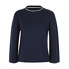 Buy Jaeger Tipped Compact Jumper, Navy / Ivory Online at johnlewis.com