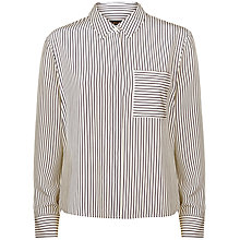 Buy Jaeger Silk Boxy Stripe Shirt, Navy / Ivory Online at johnlewis.com