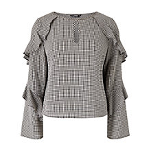Buy Miss Selfridge Petite Gingham Blouse, Black Online at johnlewis.com