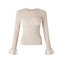 Buy Miss Selfridge Stripe Frill Cuff Jumper, Camel Online at johnlewis.com