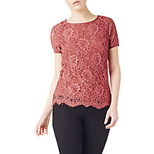 Buy Precis Petite Emma Lace Jersey Top, Dark Pink Online at johnlewis.com