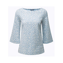 Buy Pure Collection Flute Sleeve Top, Blue Jacquard Online at johnlewis.com
