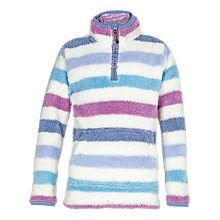 Buy Fat Face Girls' Half Neck Stripe Fleece, Ecru/Purple Online at johnlewis.com
