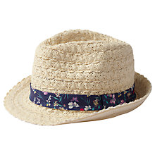Buy Fat Face Children's Lace Trim Trilby Hat, Natural Online at johnlewis.com