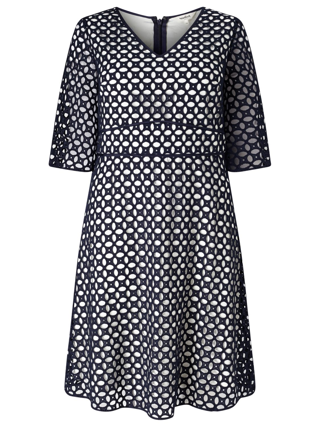 Studio 8 Studio 8 Liza Broderie Anglais Dress, Navy/Multi