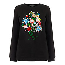 Buy Oasis Embellished Forget Me Not Sweatshirt, Black Online at johnlewis.com