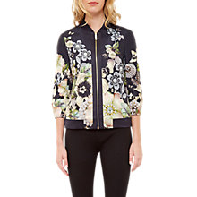 Buy Ted Baker Gem Gardens Brinney Printed Bomber Jacket, Black Online at johnlewis.com
