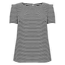 Buy Oasis Stripe Formal T-Shirt, Black/White Online at johnlewis.com