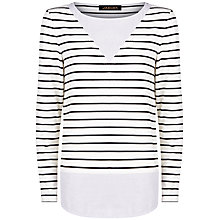 Buy Jaeger Jersey Woven Stripe Top, Ivory/Black Online at johnlewis.com