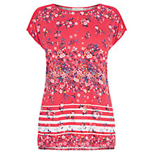 Buy Oasis Flower Bed Stripe T-Shirt, Deep Pink Online at johnlewis.com