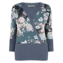 Buy Oasis Lotus Wrap Front Knit Jumper, Dark Grey Online at johnlewis.com