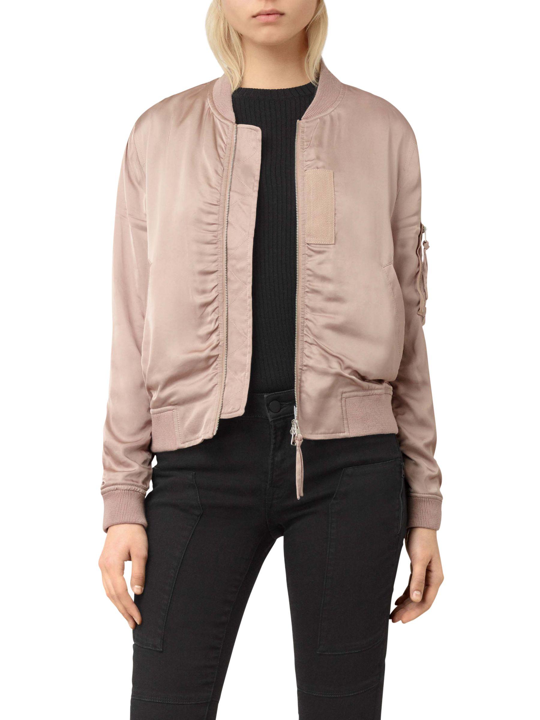 AllSaints AllSaints Kuma Bomber Jacket, Dusty Pink
