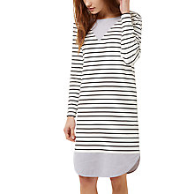 Buy Jaeger Jersey Breton Stripe Dress, Ivory/Black Online at johnlewis.com