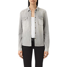 Buy AllSaints Kaia Denim Shirt, Light Grey Online at johnlewis.com
