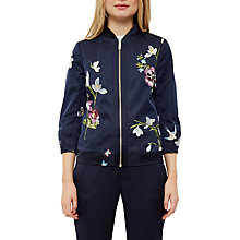 Buy Ted Baker Spring Meadow Bloomah Bomber Jacket, Dark Blue Online at johnlewis.com