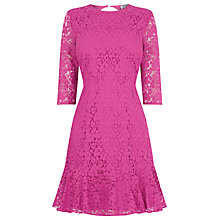 Buy Warehouse Lace Peplum Sleeve Dress, Light Pink Online at johnlewis.com