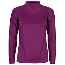Buy Jaeger Topstitch Funnel Neck Jersey Top, Magenta Online at johnlewis.com