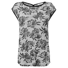 Buy Oasis Rose Print Marl Foil T-Shirt, Multi Online at johnlewis.com
