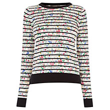 Buy Oasis Printed Stripe Jumper, Multi/Black Online at johnlewis.com