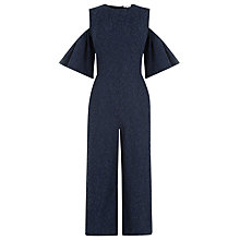 Buy Warehouse Bonded Lace Jumpsuit, Navy Online at johnlewis.com