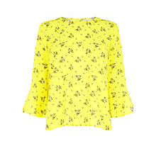 Buy Warehouse Daisy Bunch Fluted Sleeve Top Online at johnlewis.com