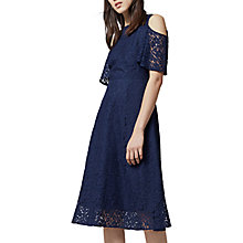 Buy Warehouse Lace Cold Shoulder Dress, Navy Online at johnlewis.com