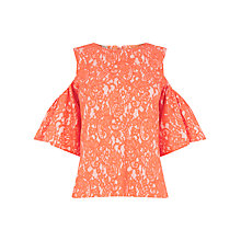 Buy Warehouse Bonded Lace Cold Shoulder Top, Orange Online at johnlewis.com