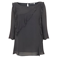 Buy Mint Velvet Ruffle Flute Sleeve Blouse, Dark Grey Online at johnlewis.com