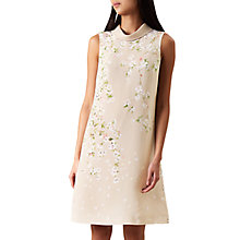Buy Hobbs Hermione Dress, Satin Beige/Multi Online at johnlewis.com