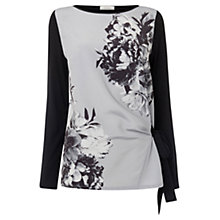 Buy Oasis Blossom Print Side Tie Top, Grey Online at johnlewis.com