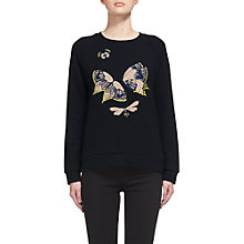 Buy Whistles Butterfly Embroidered Sweatshirt, Navy Online at johnlewis.com