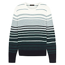 Buy Jaeger Cotton Waffle Stripe Jumper, Green/White Online at johnlewis.com
