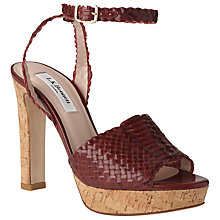 Buy L.K. Bennett Margot Block Heeled Sandals, Red Damson Online at johnlewis.com