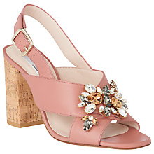 Buy L.K. Bennett Ynes Jewelled Cross Strap Block Heeled Sandals, Dark Pink Online at johnlewis.com