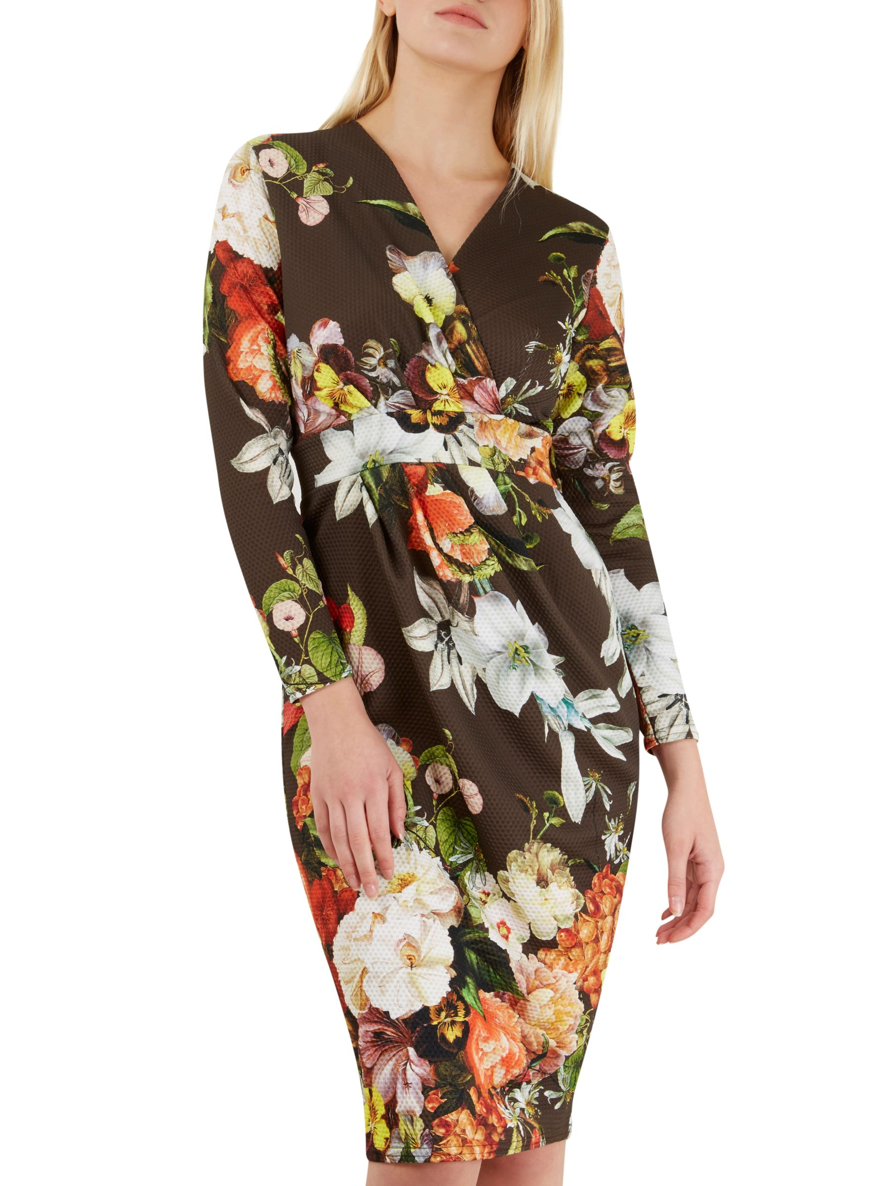 Closet Closet Floral Print Wrap Over Dress, Multi