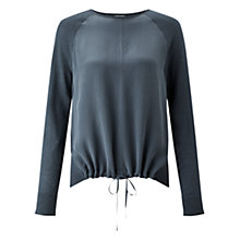 Buy Jigsaw Silk Front Drawstring Jumper, Bay Leaf Online at johnlewis.com