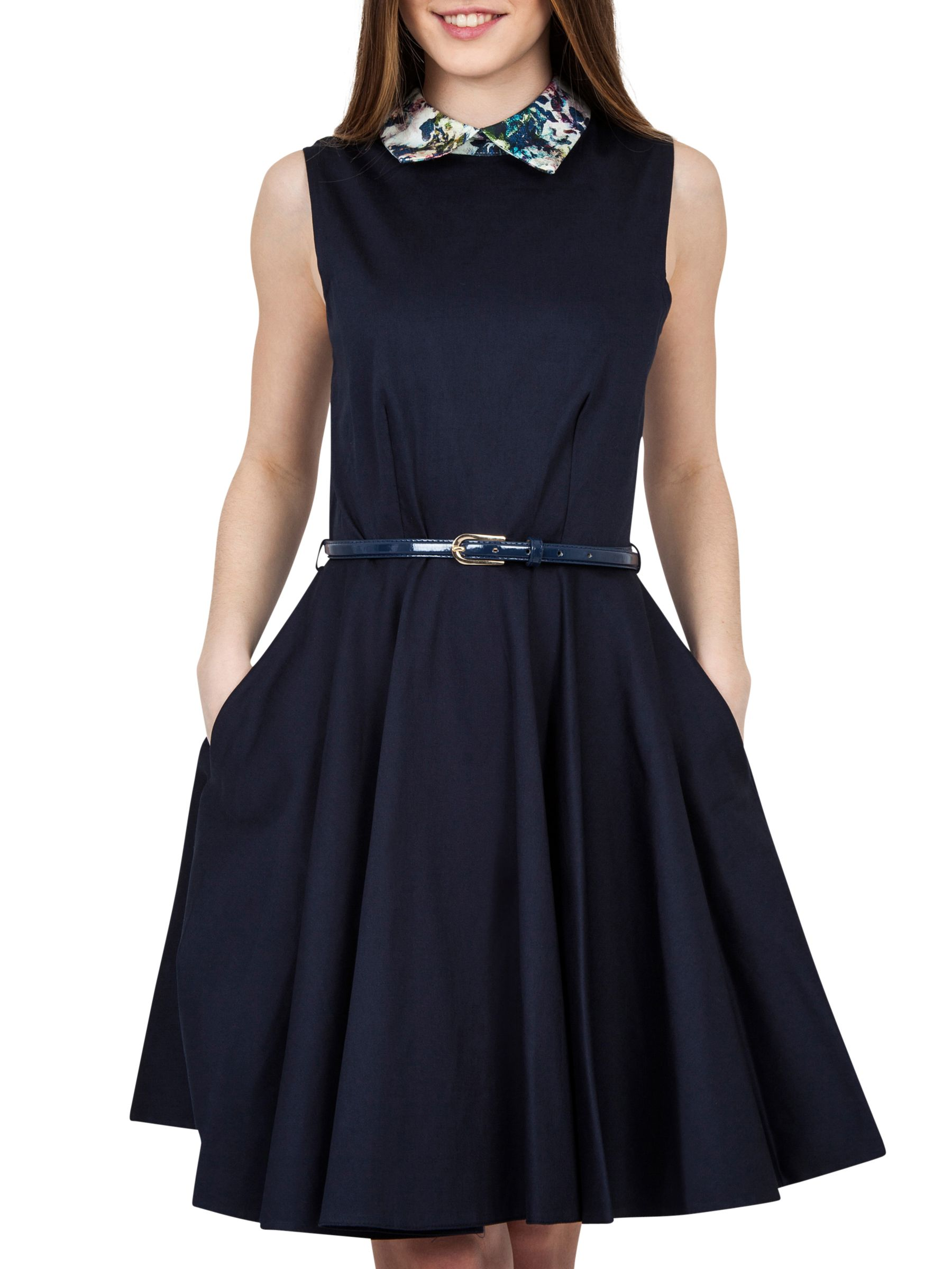 Closet Closet Contrast Belted Skater Dress, Multi