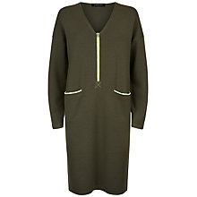 Buy Jaeger Zip Detail Knitted Wool Dress, Khaki Online at johnlewis.com