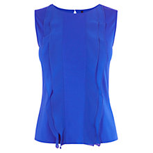 Buy Karen Millen Georgette Panel Jersey Top, Blue Online at johnlewis.com