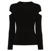 Buy Karen Millen Cut Out Sleeve Jumper, Black Online at johnlewis.com