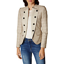 Buy Karen Millen Military Texture Tweed Jacket, Neutral Online at johnlewis.com