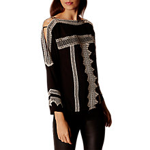 Buy Karen Millen Ethnic Embroidered Cold Shoulder Blouse, Black/Ivory Online at johnlewis.com