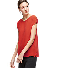 Buy Jigsaw Silk Front Stitch Detail Top, Scarlet Online at johnlewis.com
