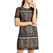 Buy Oasis Graphic Lace Shift Dress, Black Online at johnlewis.com