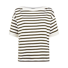 Buy Jaeger Cotton Boat Neck Striped Top, Ivory Online at johnlewis.com