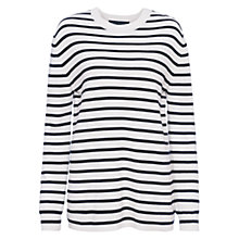 Buy French Connection Mozart Milano Stripe Jumper, Summer White/Utility Blue Online at johnlewis.com