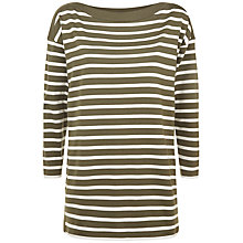 Buy Jaeger Cotton Boat Neck Striped Tunic Top, Khaki Online at johnlewis.com