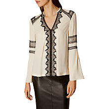 Buy Karen Millen Ethnic Embroidered V Neck Blouse, Ivory Online at johnlewis.com