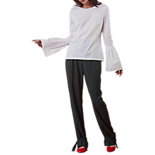 Buy Finery Florence Flute Sleeve Jersey Top, White Online at johnlewis.com